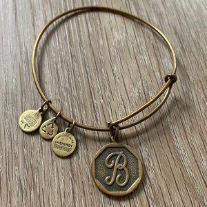 "Alex & Ani ""B"" Initial Bracelet - Gold"